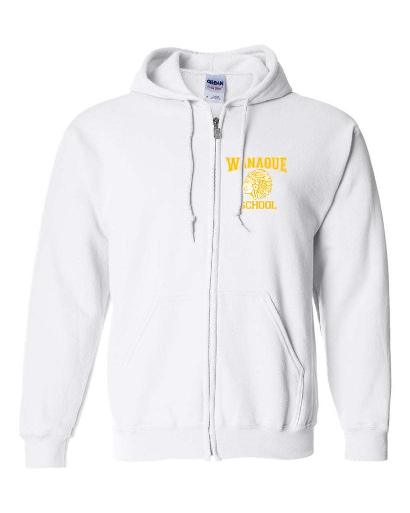 "WANAQUE White Heavy Blend FULL-ZIP Hoodie w/ Small WANAQUE School ""Indian"" Logo on Front Left Chest."