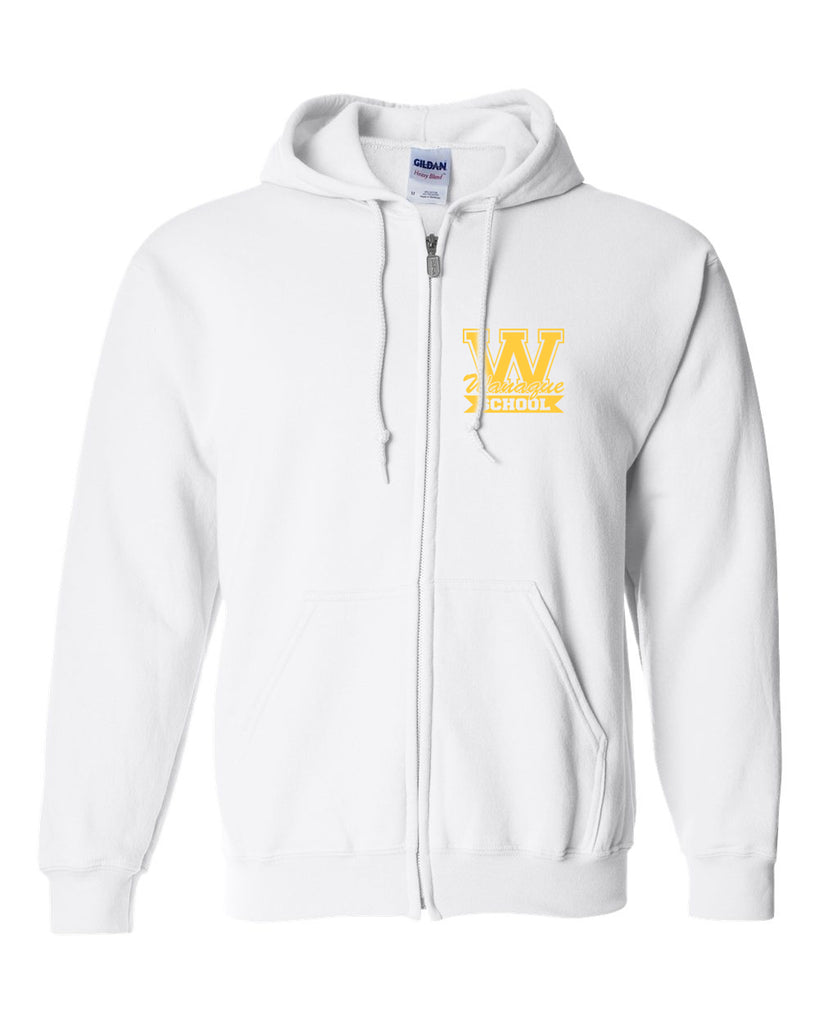 "WANAQUE White Heavy Blend FULL-ZIP Hoodie w/ Small WANAQUE School ""W"" Logo on Front Left Chest."