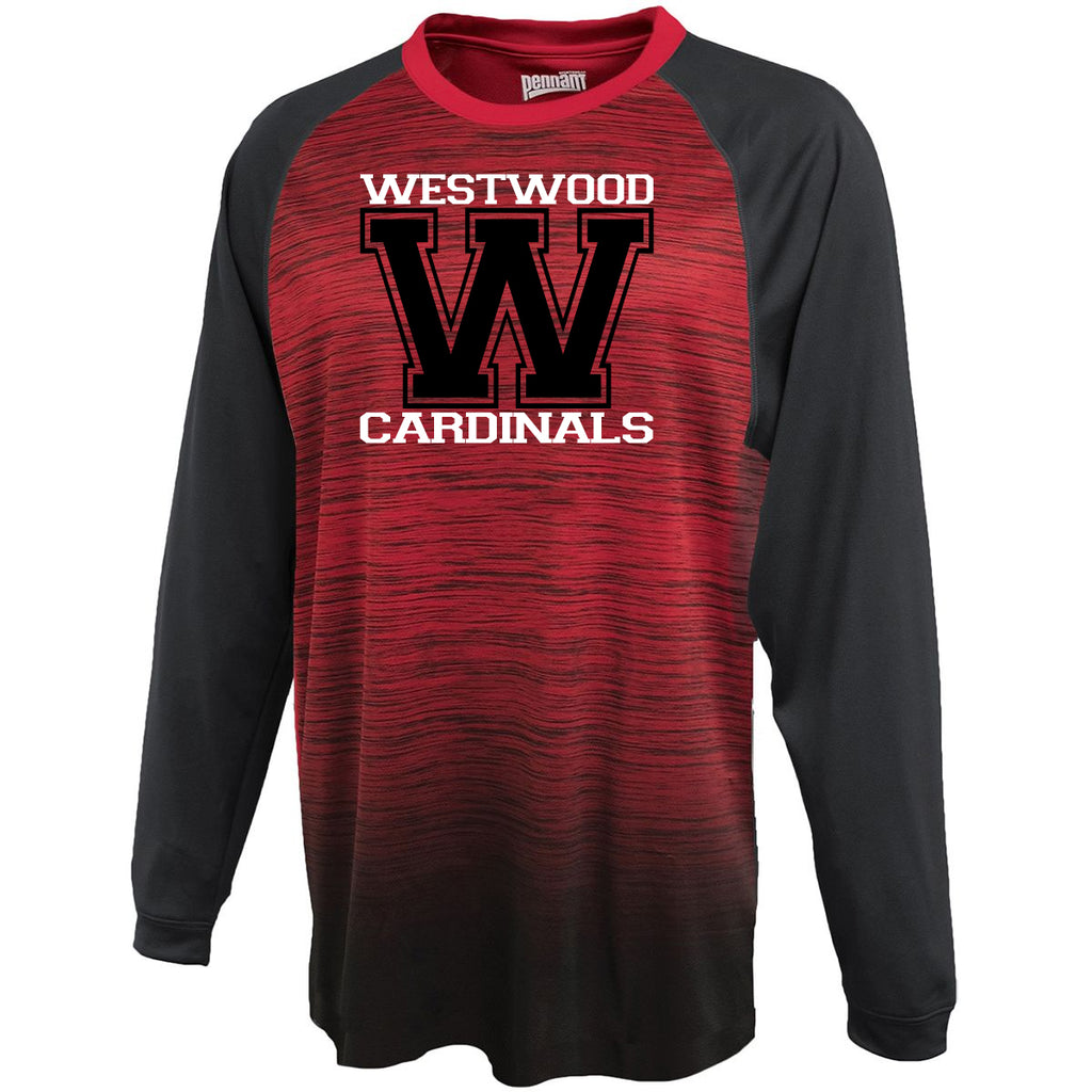 "Westwood Cardinals Gradient Long Sleeve Tee w/ Cardinals ""W"" Design"