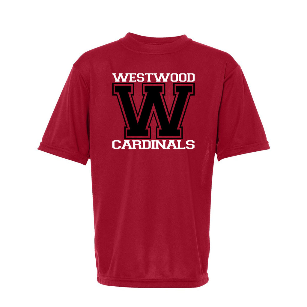 "Westwood Cardinals Red Short Sleeve Performace Tee w/ Cardinals ""W"" Design"