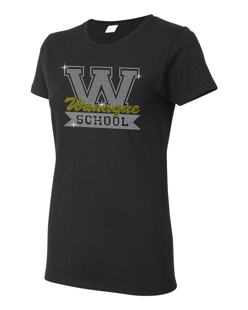 "WANAQUE  Black Heavy Cotton Shirt w/ WANAQUE School ""W"" Logo in Spangle on Front."