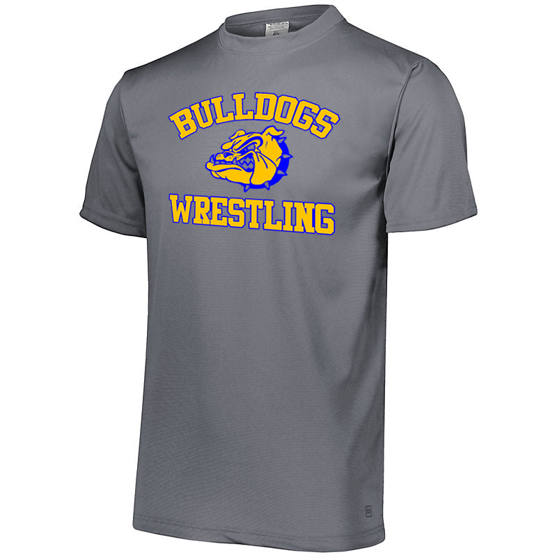 Butler Wrestling Gray Attain Wicking Set-In Sleeve Tee w/ Large Front 2 Color Design