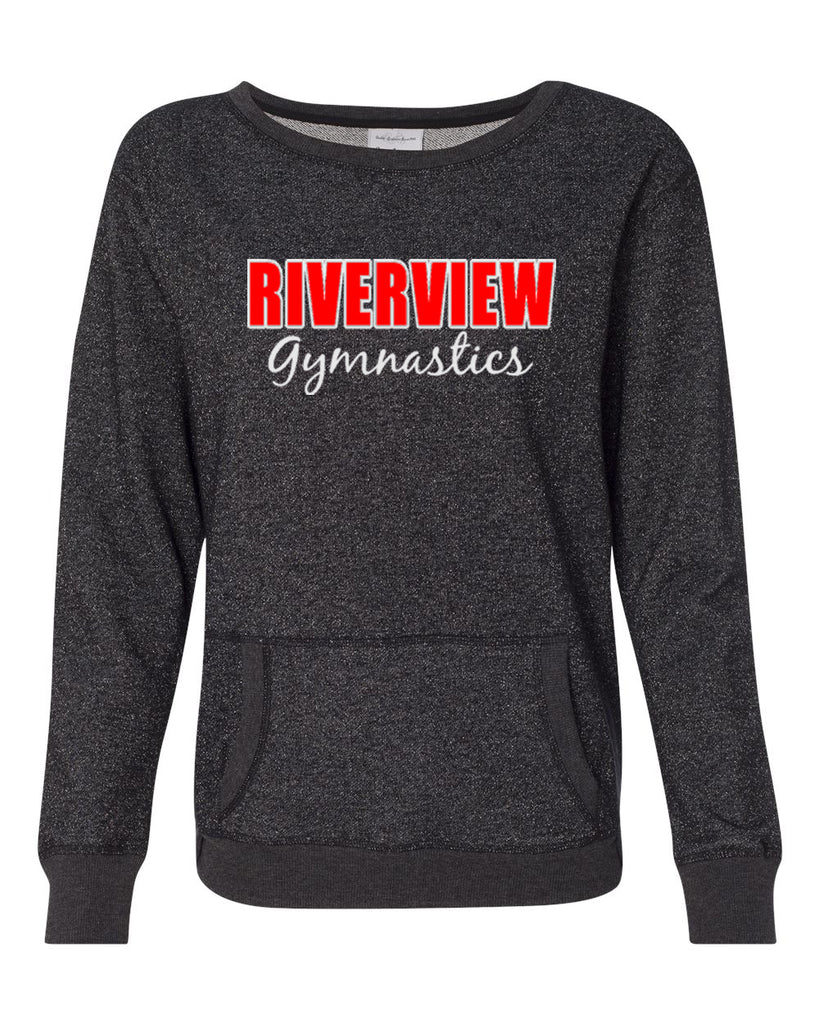 Riverview Gymnastics Black Women's Glitter French Terry Sweatshirt - 8867 w/ 2 Color Design on Front.