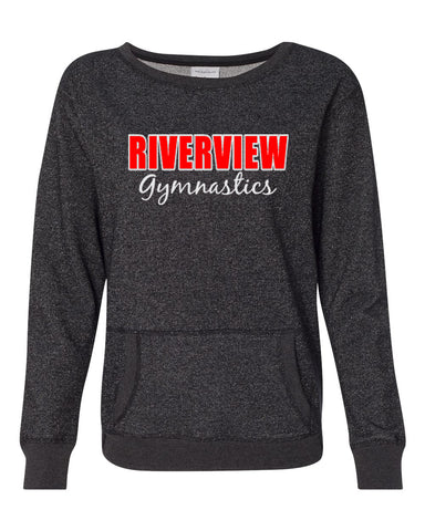 Riverview Gymnastics Heavy Cotton Women's V-Neck T-Shirt w/ 2 Color SPANGLE Design on Front.