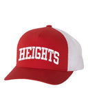 Height Red Yupoong - Classics™ Five-Panel Retro Trucker Cap - 6506 w/ HEIGHTS ARC logo on Front.
