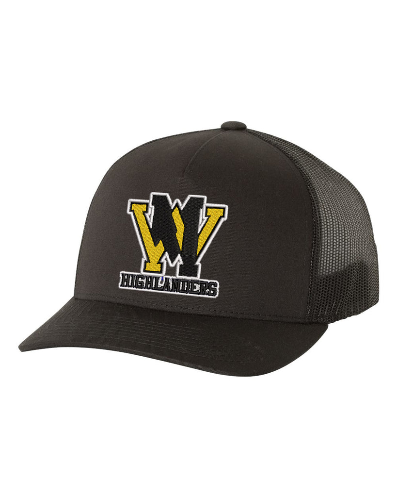 West Milford Fencing Yupoong - Classics™ Five-Panel Retro Trucker Cap - 6506 w/ WM logo on Front.
