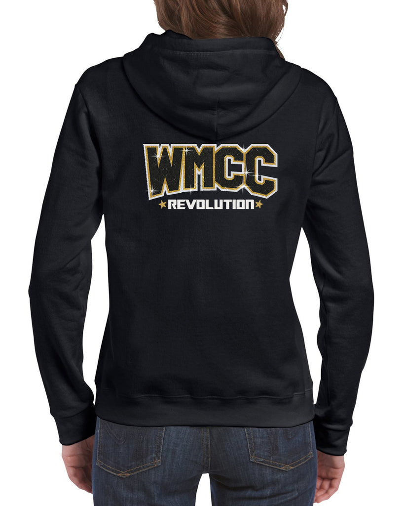 WMCC Black Full Zip Hoodie w/ WMCC Logo in 3 Color Print (GLITTER) on Back.