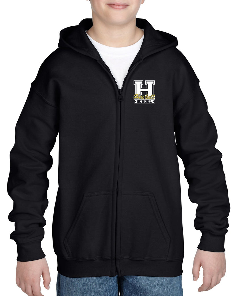 "HASKELL School Black Heavy Blend Full Zip Hoodie w/ Small Left Chest HASKELL School ""H"" Logo on Front."