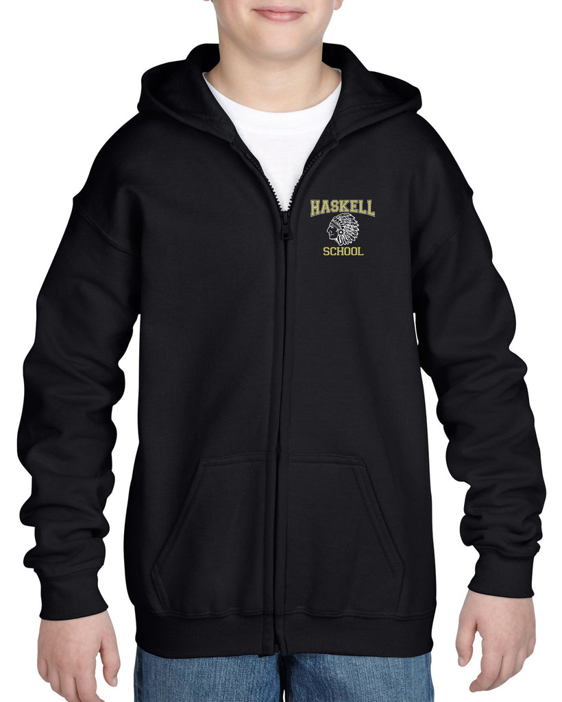 "HASKELL School Black Heavy Blend Full Zip Hoodie w/ Small Left Chest HASKELL School ""Indian"" Logo on Front."