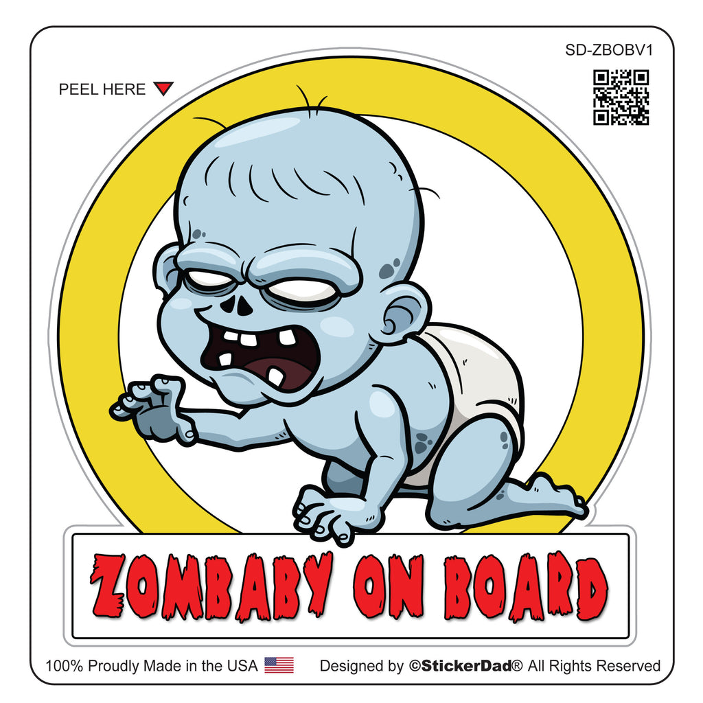 "ZOMBABY ON BOARD V1 - 4"" Full Color Printed Vinyl Decal Window Sticker"