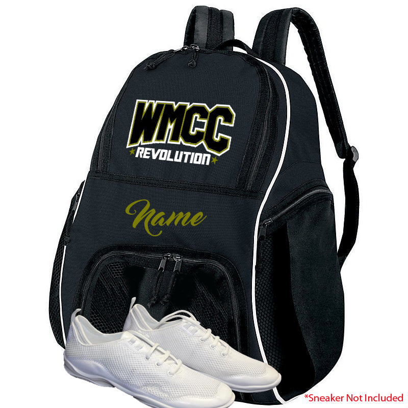 WMCC Black High 5 Backpack w/ WMCC Logo in 3 Color GLITTER on Front.