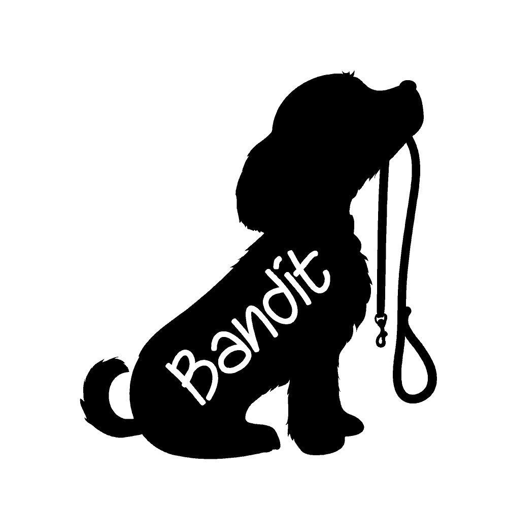 Custom Puppy Holding Leash w/ Name Single Color Transfer Type Decal