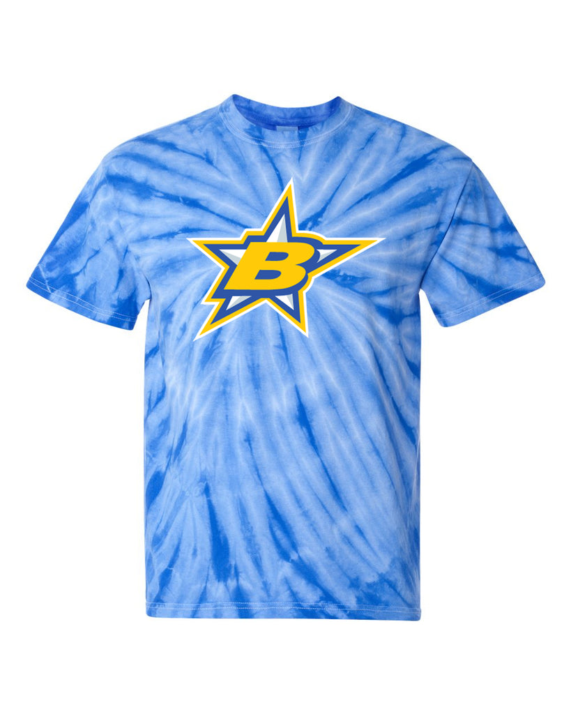 Butler Stars Royal Cyclone Tye Dye Short Sleeve Tee w/ Large 2 Color Logo on Front.