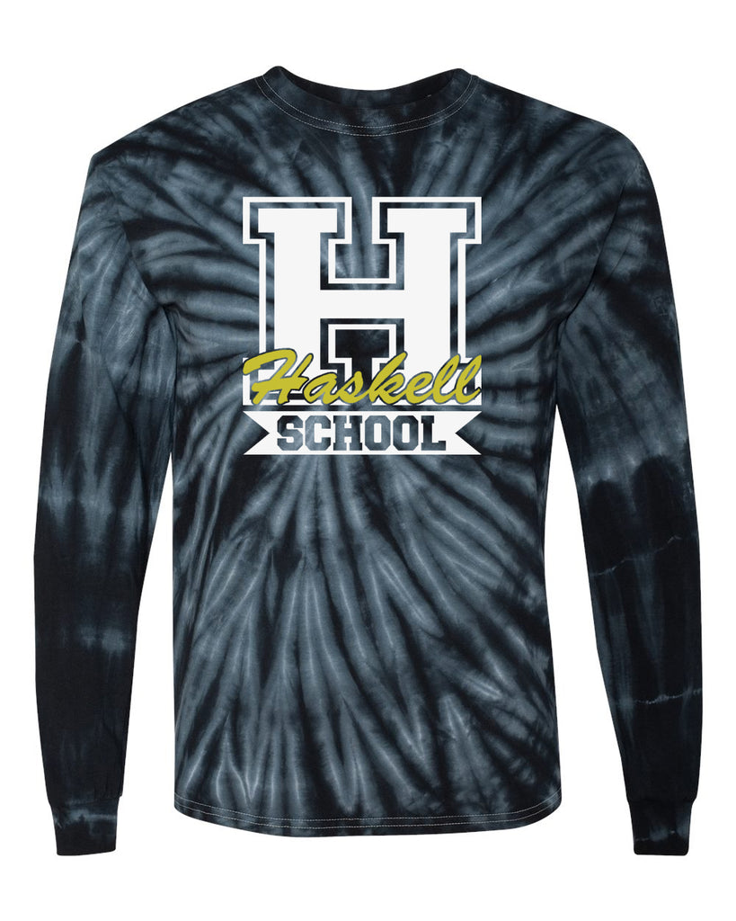 "HASKELL School Cyclone Tye Dye Long Sleeve Tee w/ HASKELL School ""H"" Logo on Front."
