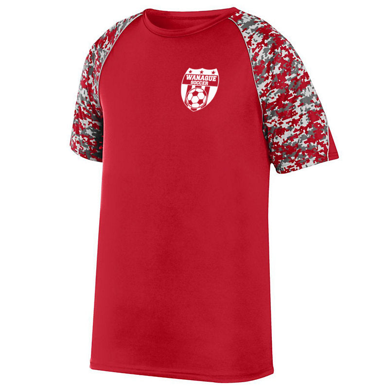 Wanaque Soccer Color Block Digi Camo Short Sleeve Tee w/ Small Wanaque Soccer Logo on Left Chest