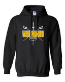 West Milford Fencing Black Heavy Blend Hoodie w/ Large WM Cross Swords Design on Front.