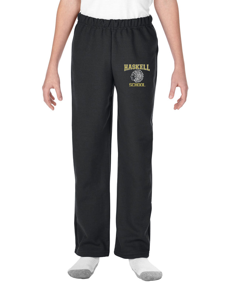 "HASKELL School Open Bottom Sweat Pants w/ HASKELL School ""Indian"" Logo on Front Hip."