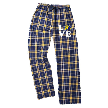"JCPTA Flannel PJ Style Pants w/ JCPTA ""Love"" Logo on Front Hip."