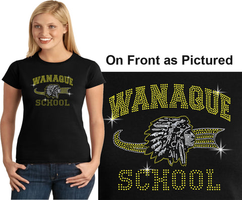 "WANAQUE Black Heavy Blend FULL-ZIP Hoodie w/ Large WANAQUE School ""W"" 2 color Logo on Back."