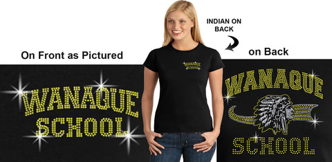 WANAQUE Heavy Cotton Black Short Sleeve Tee w/ WANAQUE School Indian Logo on Front.