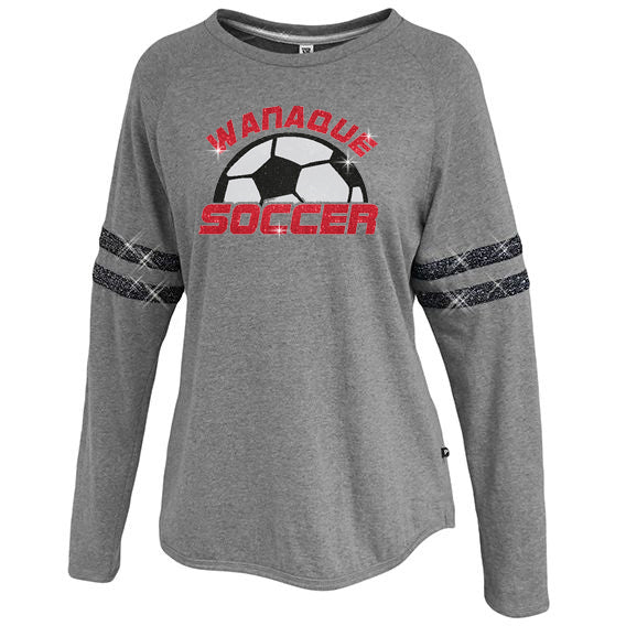 Wanaque Soccer Sparkle Stripe Crew with Large Half Ball Logo on Front in GLITTER