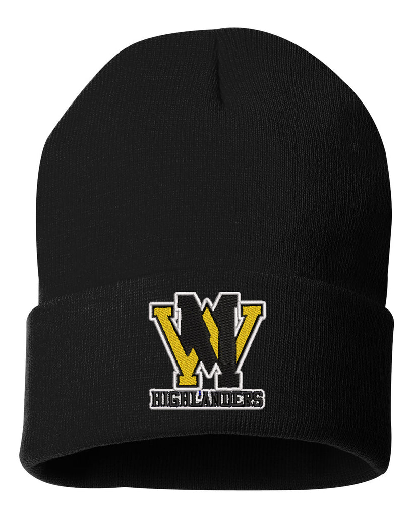 "West Milford Fencing Sportsman - Solid Black 12"" Cuffed Beanie - SP12 w/ WM logo on Front."