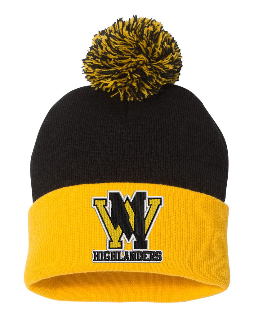 "West Milford Fencing Sportsman - Pom-Pom 12"" Knit Beanie - SP15 w/ WM logo on Front."