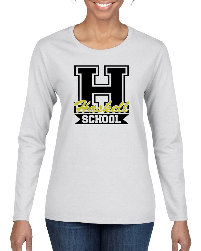 "HASKELL School Heavy Cotton White Long Sleeve Tee w/ Large HASKELL School ""H"" Logo on Front."