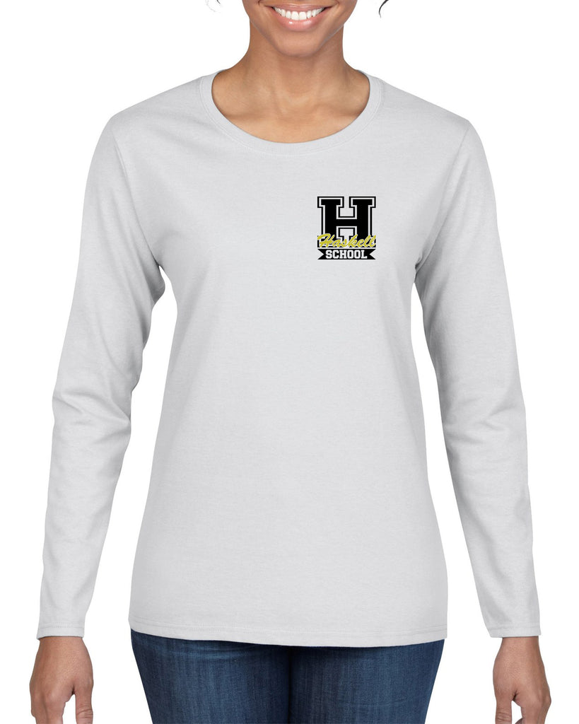 "HASKELL School Heavy Cotton White Long Sleeve Tee w/ Small HASKELL School ""H"" Logo on Front Left Chest."