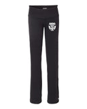 Wanaque Soccer Black Ladies Yoga Pants with Wanaque Soccer Logo on Front Left Hip.