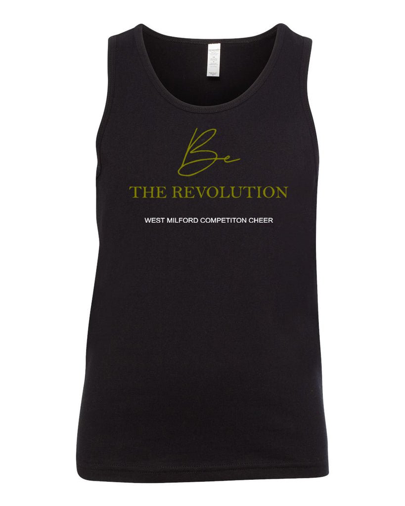 WMCC Black Unisex Tank - BC3480 W/ Be the Revolution Design on Front.