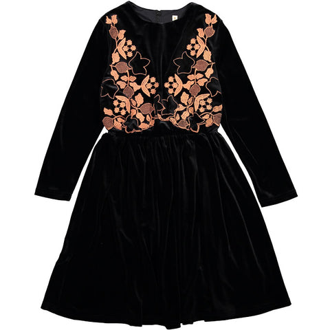 Ava & Lu Black Velvet Embroidered Dress