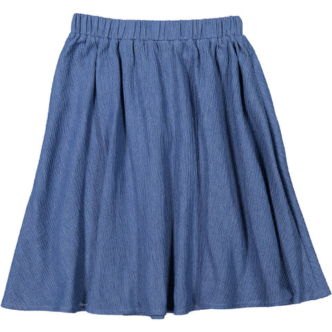 Ava and Lu Denim Textured Circle Skirt
