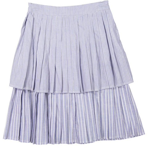 Ava and Lu Chambray Stripe Double Pleated Skirt