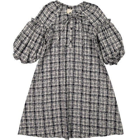 A4 Black Gingham Check Puff Sleeve Dress