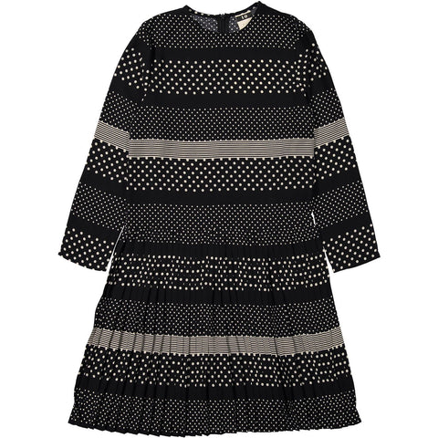 A4 Black/Cream Print Pleated Dress