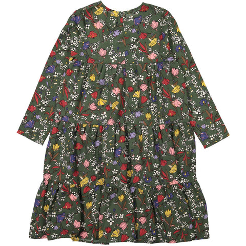 Ava and Lu Green Floral Chiffon Dress