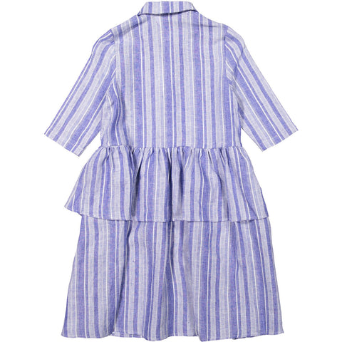 Ava and Lu Chambray Stripe Peplum Shirtdress