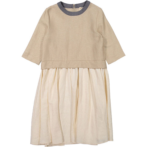 Ava and Lu Beige Lurex Dropwaist Dress