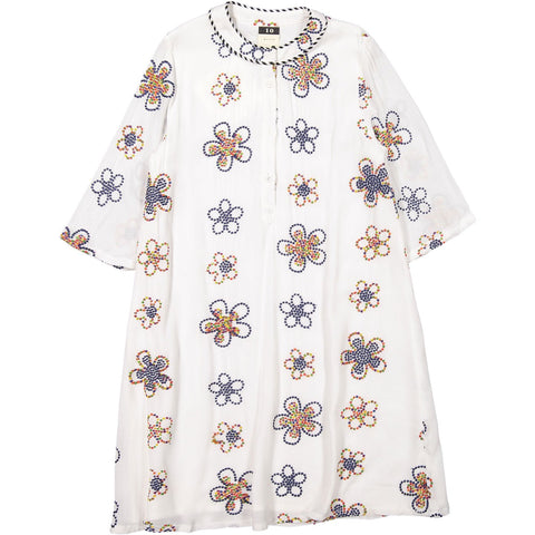 A4 Cream Embroidered Flowers Dress