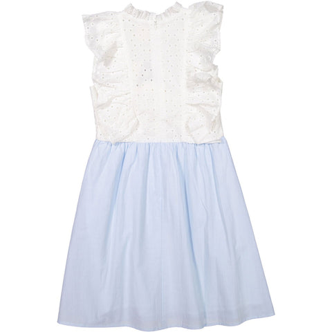 A4 Light Blue/Cream Ruffle Pinafore