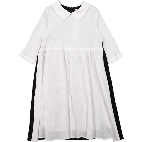 Ava and Lu Cream/Black Wrinkled Collar Dress