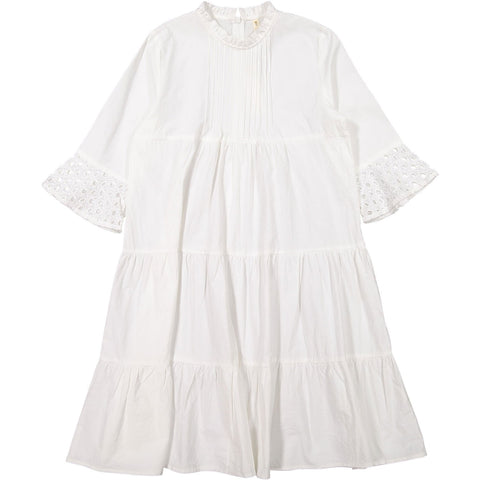Ava and Lu Cream Tiered Eyelet Detail Dress