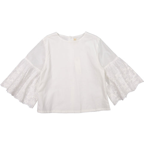 Ava and Lu White Bell Sleeve Blouse