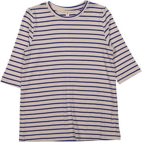 Ava and Lu Beige Stripe Soft Tee