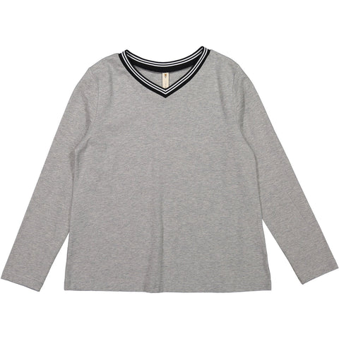 Ava and Lu Grey V-neck Sporty Tee