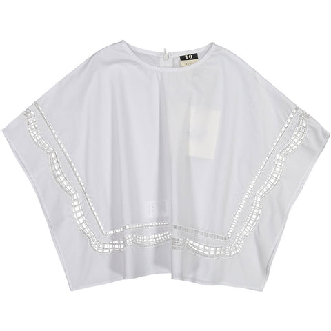 A4 White Cutout Crop Blouse