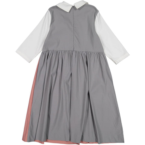 Ava and Lu White/Pink/Grey Collar Dress