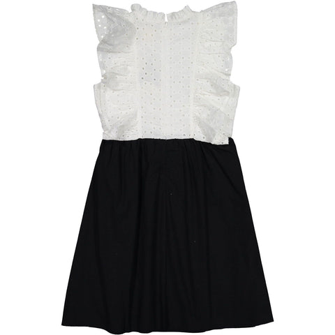 A4 Black/Cream Ruffle Pinafore