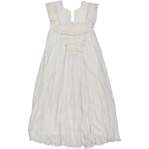 A4 Cream Pleats Maxi Dress
